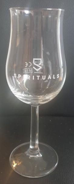 Whiskyglas / Nosingglas mit Spirituals-Logo und Schriftzug