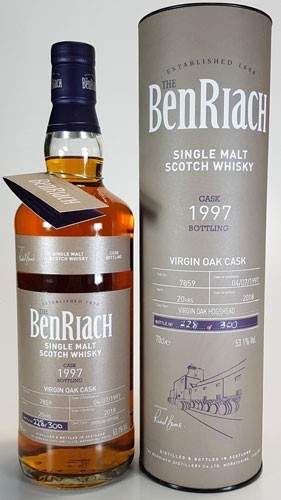 BenRiach 20 y.o.1997 Batch #15 Cask #7859 Virgin Oak Hogshead